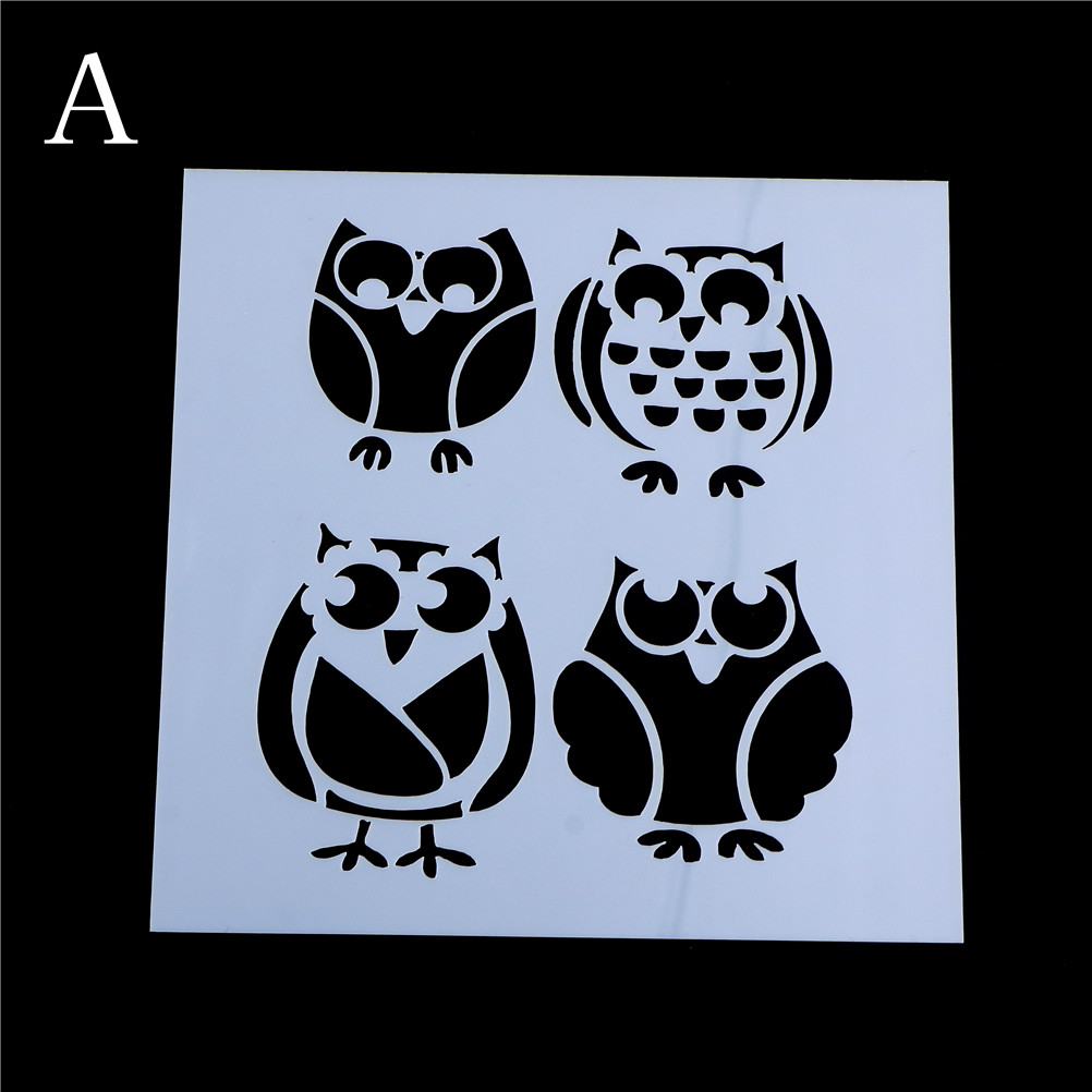 4 Styles Owls Stencils For Wall Painting Scrapbooking Album Decorative Paper Cards