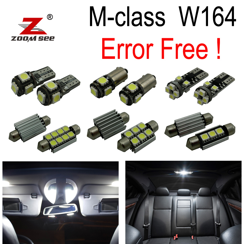 19pc Error Free LED Lamp Interior dome Light Kit License plate For Mercedes Benz M class W164 ML280 ML300 ML350 ML450 (06-11) 14pcs car lamp led light bulbs interior package kit for 2003 2008 kia sorento map dome step courtesy license plate light white