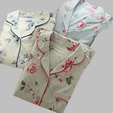 New Cotton Pajamas Set Ladies Summer Sleepwear Floral Print Shorts Sleeve Tracksuit For Women Pijamas Mujer Homewear Clothes