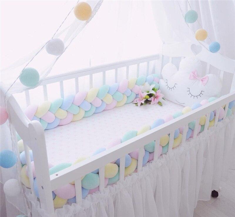 200/300 CM bébé fille berceau côté ensemble pare-chocs lit protection Anti-collision bébé chambre décoration bébé chambre literie couleur unie