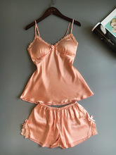 OtherLinks Orange Silk Satin Lace Padded Pajamas Set Women V-Neck Spaghetti Strap Cami and High Waist Side Slit Pijama Shorts