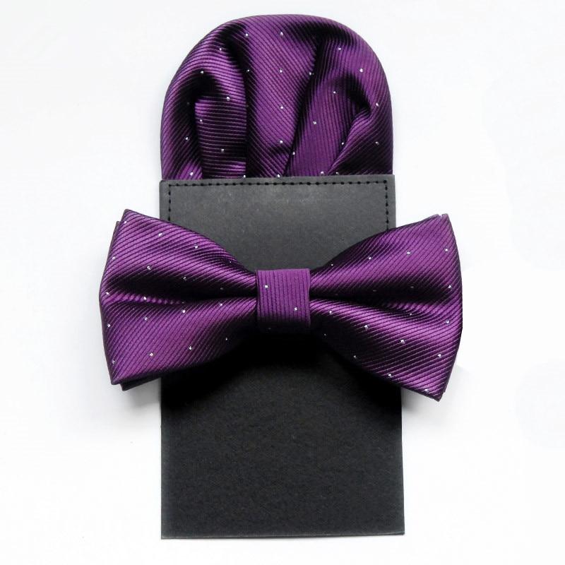 SCST New Pajaritas Classic White Dot Print Solid Purple Men's Silk Bow Ties For Men Bowtie With Pocket Square 2pcs Set CR056