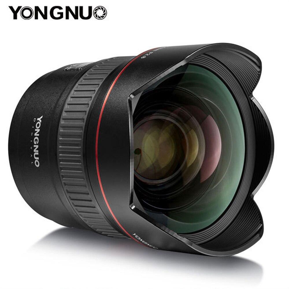 D'origine YONGNUO YN14mm F2.8 Ultra-Grand Angle Premier Objectif YN14mm Mise Au Point Automatique AF MF Métal Monture pour Canon 700D 80D 5D Mark III