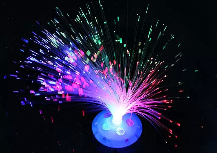 Selling color fiber optic disk flowers flash toys all over the sky star colorful flash grail