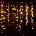 Decoración de navidad al aire libre 3.5 m Droop 0.3-0.5 m carámbano cortina de luces led 220 V año Nuevo Jardín Banquete de Boda de navidad