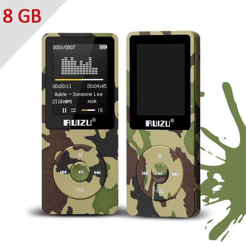 """2018 оригинален RUIZU X02 HiFi MP3 музикален плейър 8GB спортен MP3 плейър 1.8 """"TFT екран с FM радио, рекордер, електронна книга, часовник, данни"""