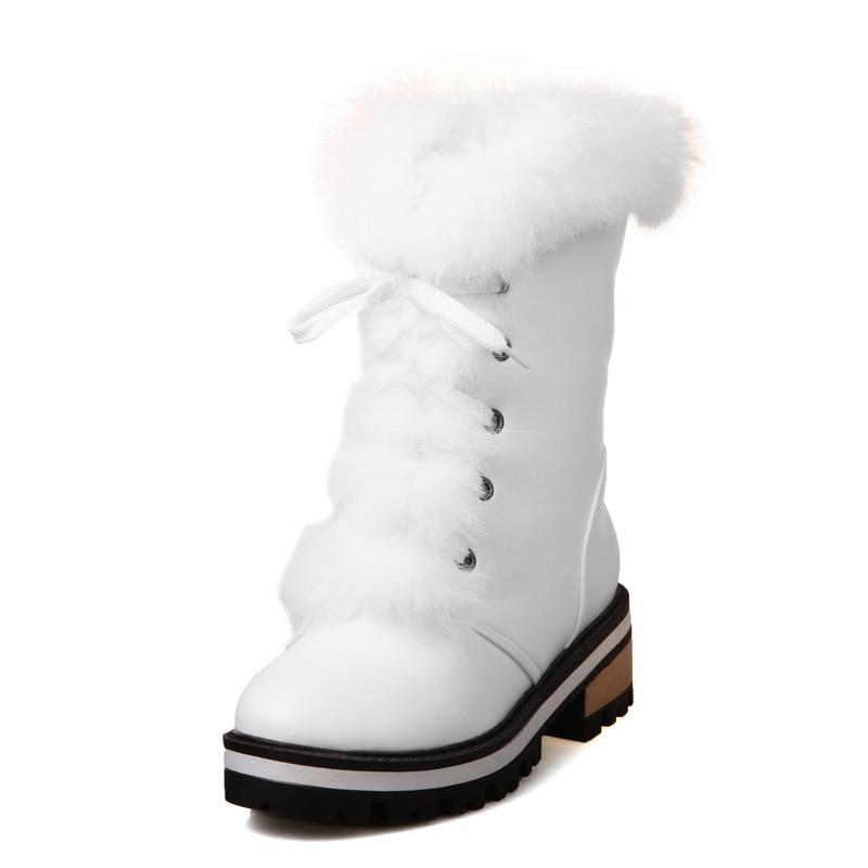 큰 크기 34-43 여성 부츠 라운드 발가락 달콤한 - 여성 신발 - 사진 3