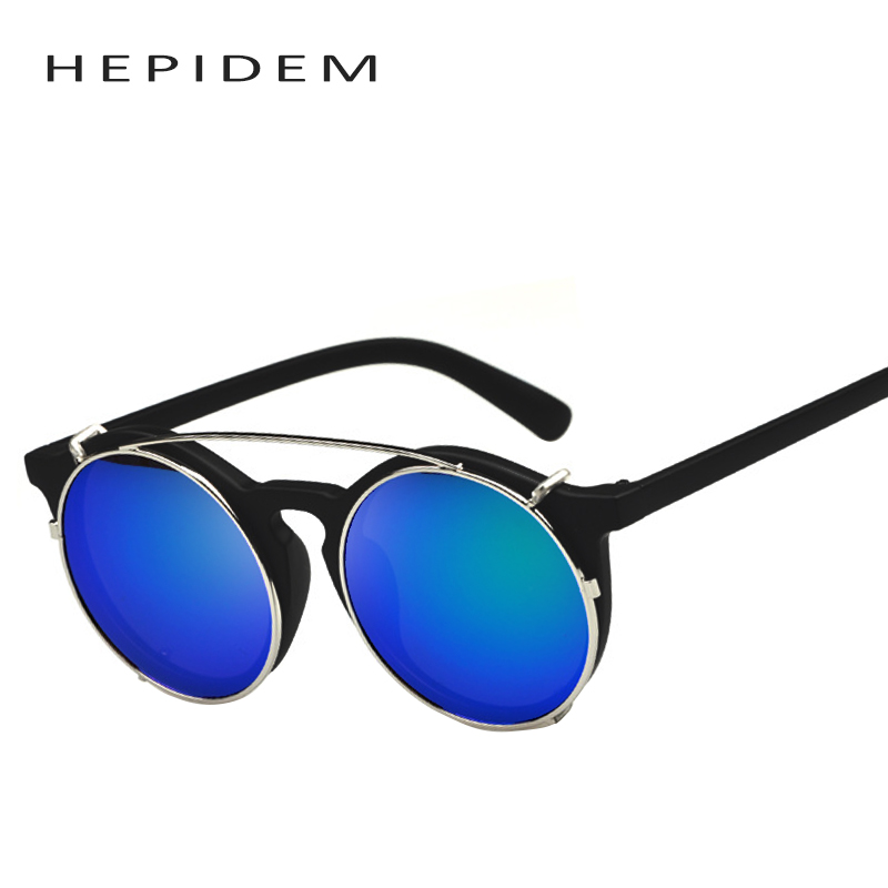 hepidem 2017 men round vintage punk flip to take off sun glasses women brand designer steampunk clear frame clip on sunglasses 3