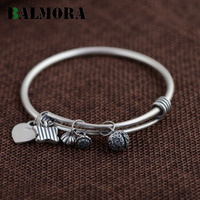 BALMORA Authentic 990 Pure Silver Jewelry Fashion Retro Round Bangles For Women Lover Bracelets Accessories Gifts