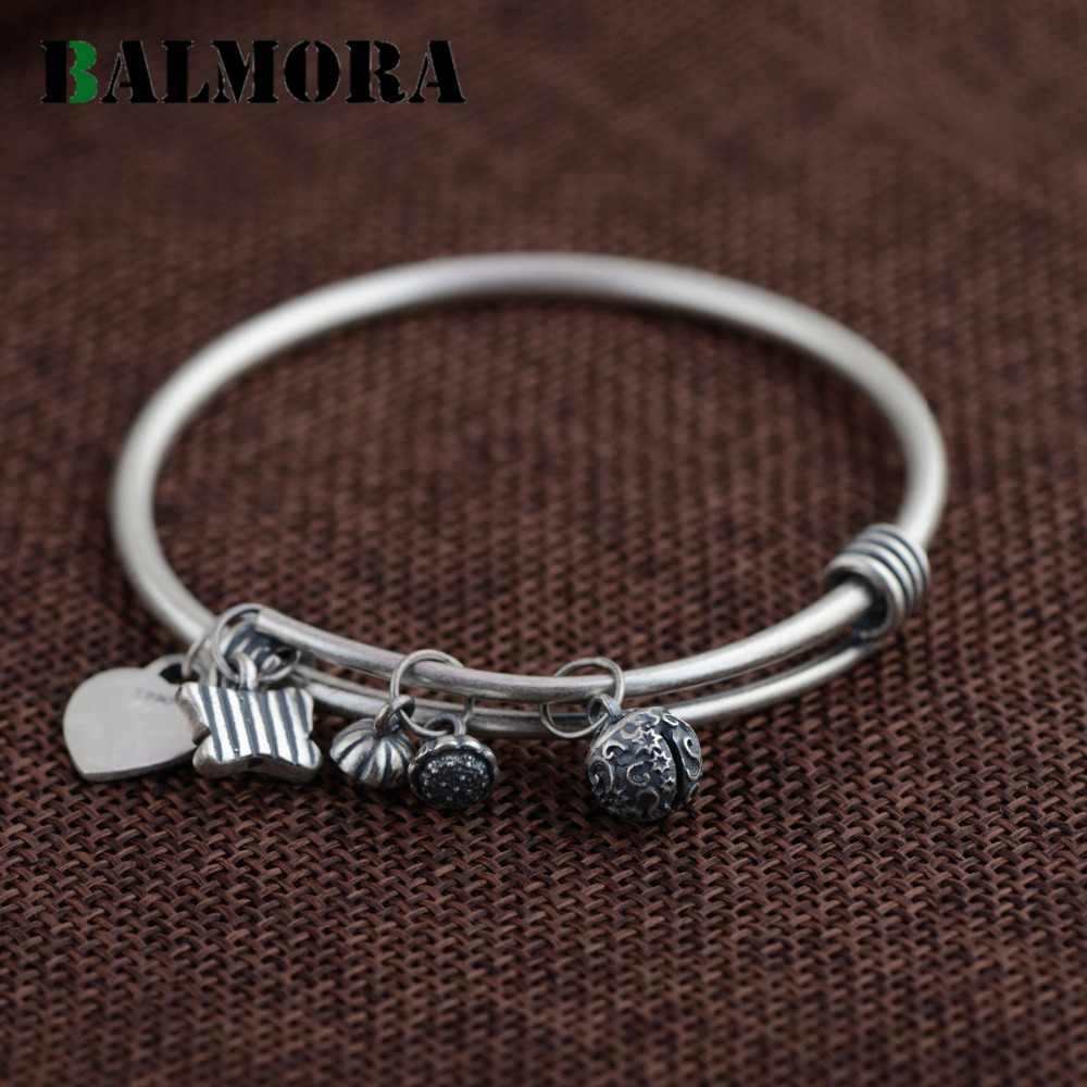 BALMORA Authentic 990 Pure Silver Jewelry Fashion Retro Round Bangles for Women Lover Bracelets Accessories Gifts Bijoux SZ0208 fashion 2 size pure tungsten steel hematite couple bracelets bangles for women jewelry mens silver color bracelets for lover s