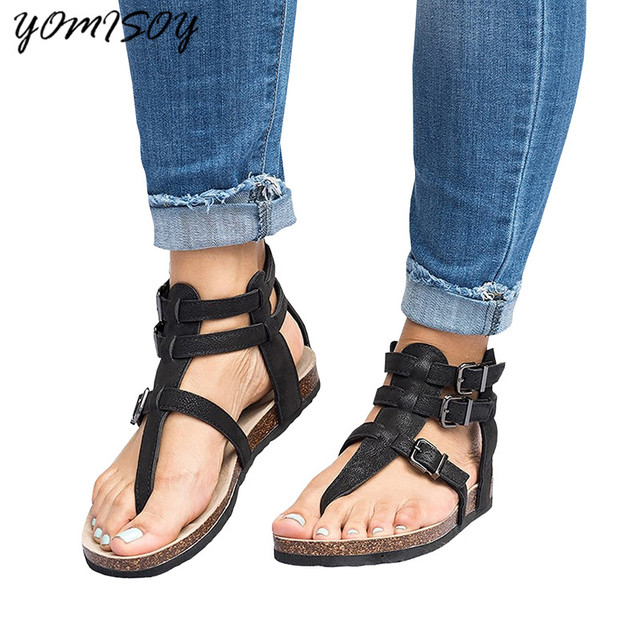 488825c45ff7 2018 Summer Sandals Women Casual Shoes Female Rome Gladiator Sandals Women  Flat Buckle Feminina Sandals