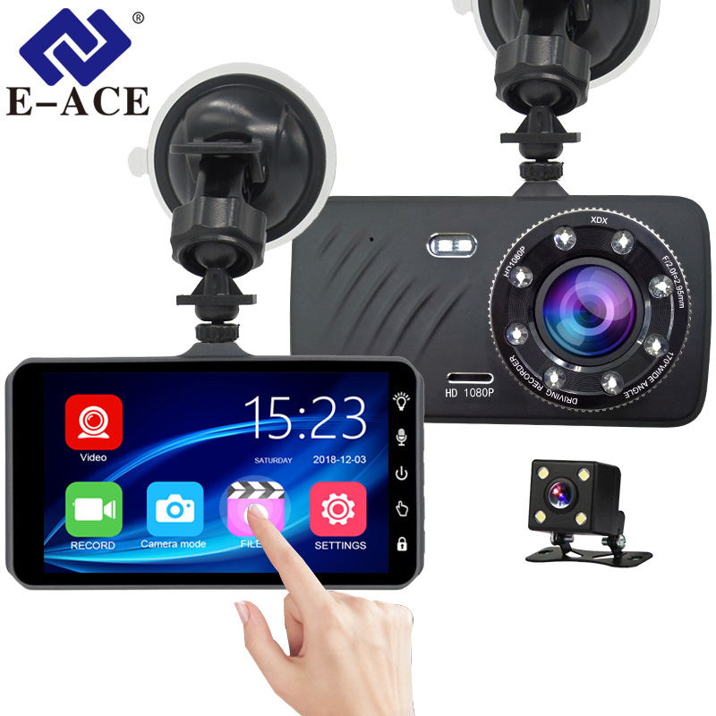 E-ACE Car DVR Recorder Touch-Screen Dashcam Video-G-Sensor Rear-View-Camera Dual-Lens