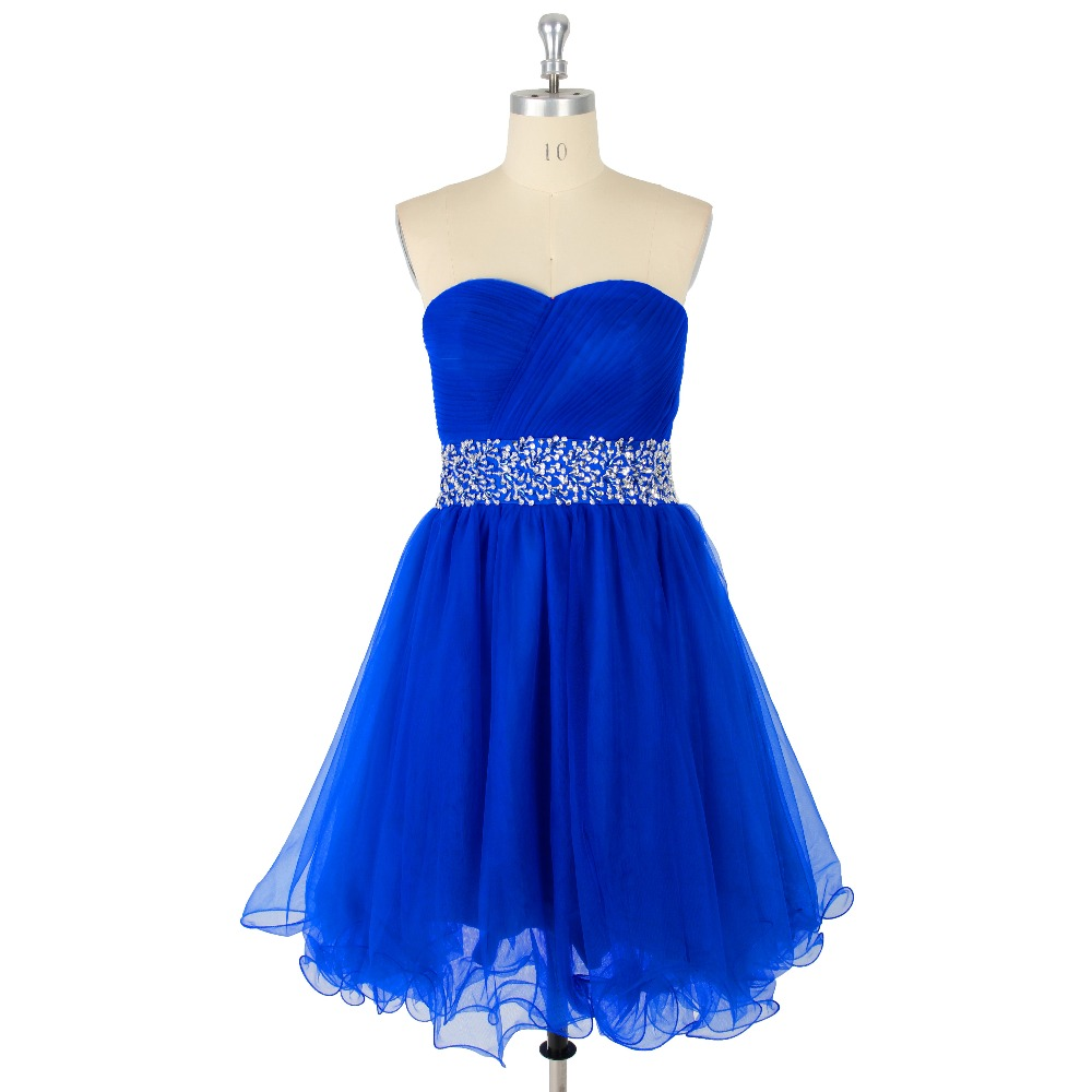 Bleu Royal Ruché Cristal Organza Sweetheart Courte A-ligne Dentelle-up Robe De Bal Formelle Événement
