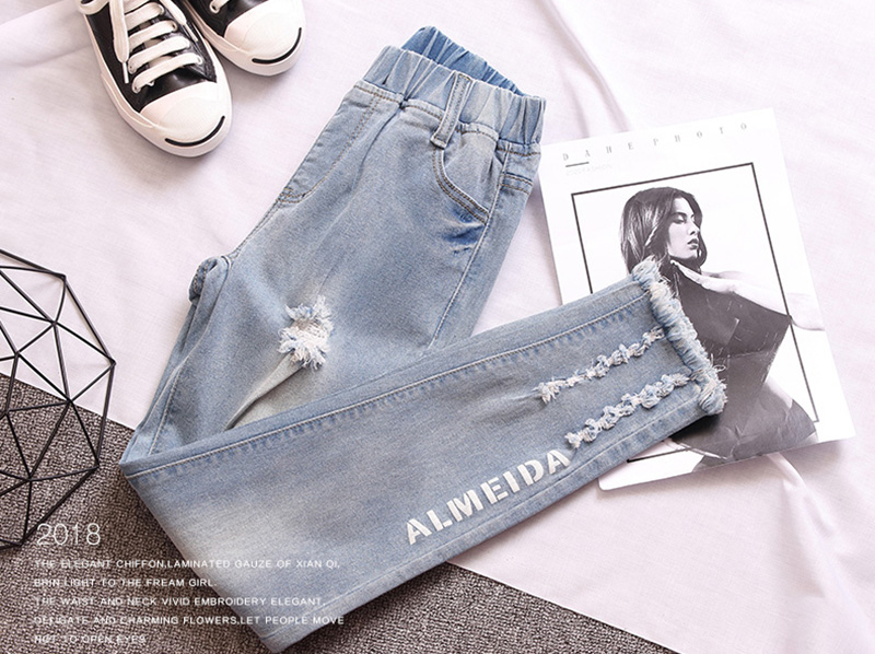 Blue Pantalons Mode Des Lettre Taille Light Pantalon Elastique Trous Style Sexy Impression Conception Rue Femmes Décontracté Glands Skinny Denim Z900 gFqRSWdwHx