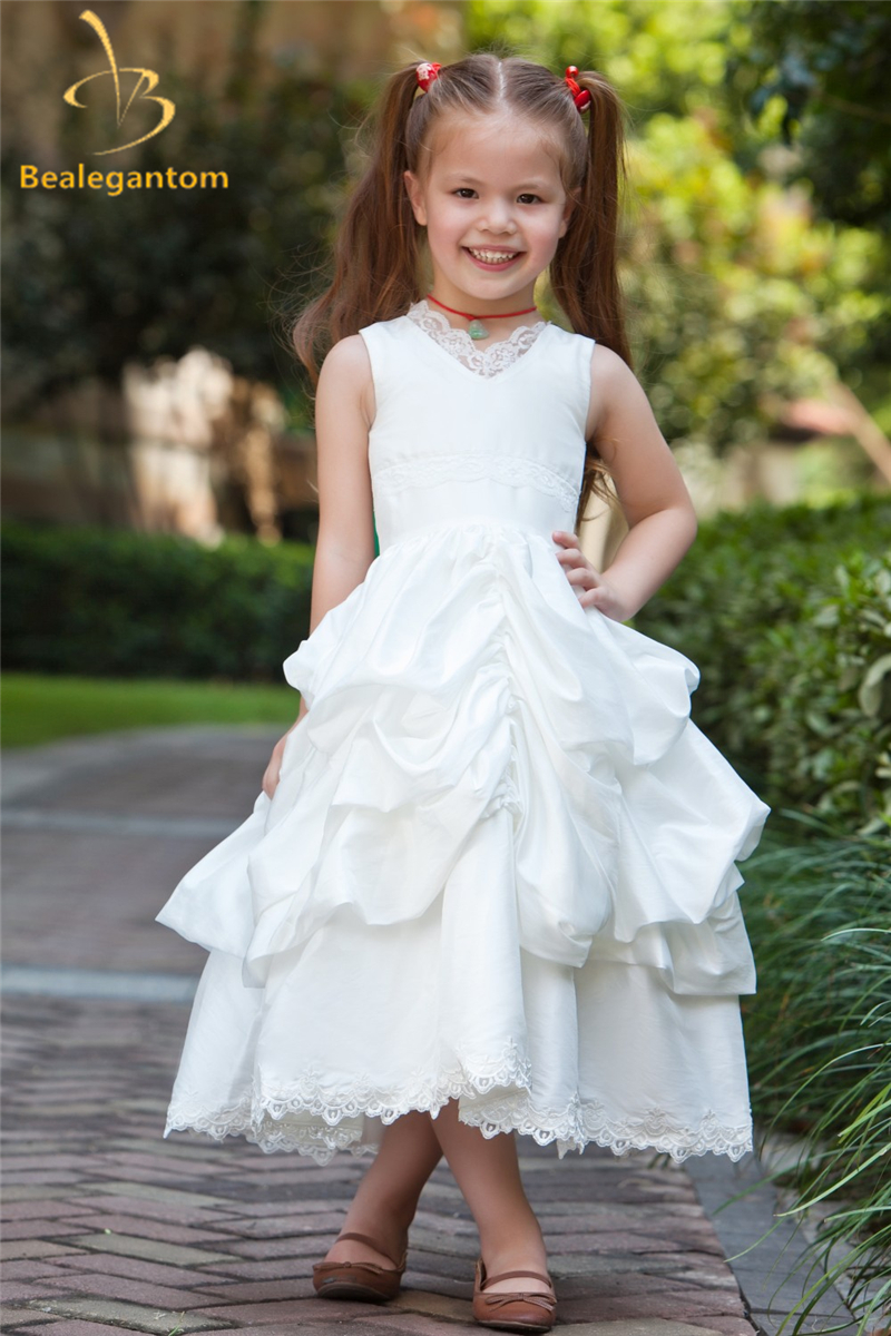 Bealegantom 2019 New Ball Gown Lace Flower Girl Dresses With Taffeta Appliques Girls Pageant Gown First Communion Dresses QA1148