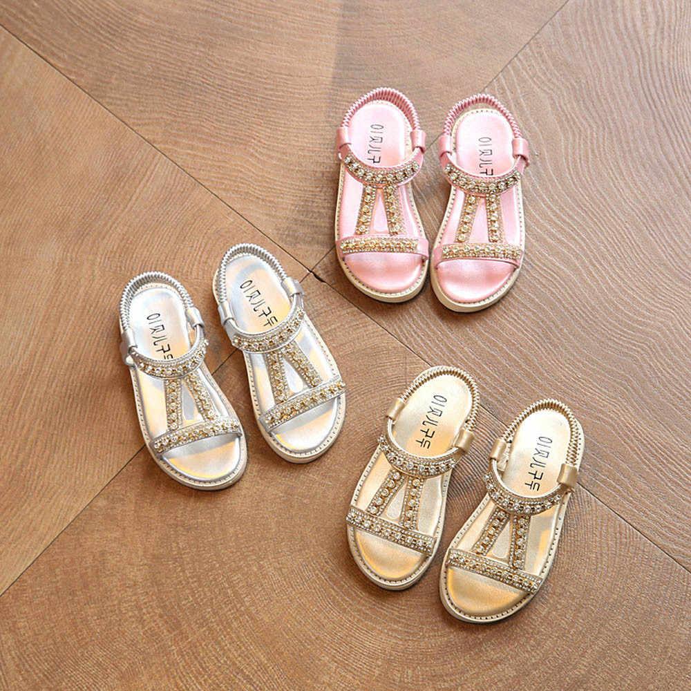 eee72bba95 Summer Style Children Sandals Girls Princess Shoes Beautiful Crystal  Diamond Rhinestone Kids Flat Sandals Baby Girls Roman Shoes