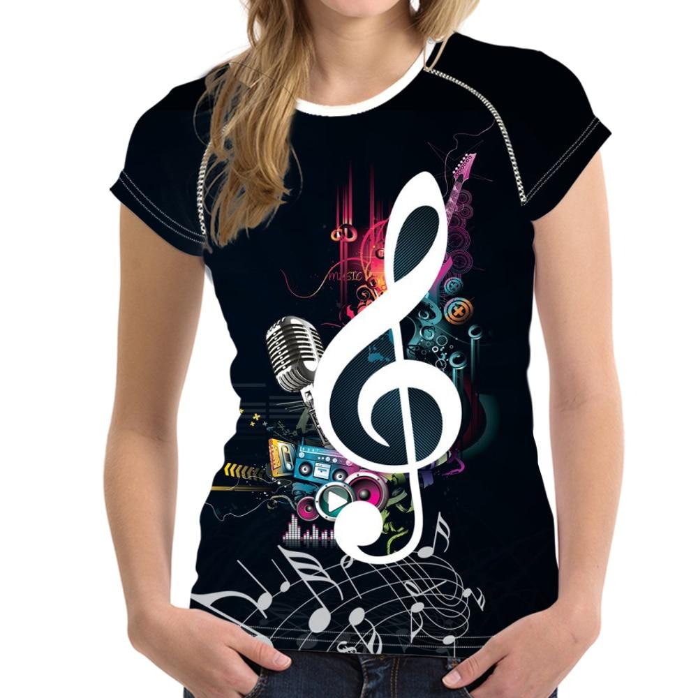 Stylish Music Note Print Summer T Shirts for Teen Girl Fitness O Neck T-shirts Harajuku Musical Design Woman Top Tee
