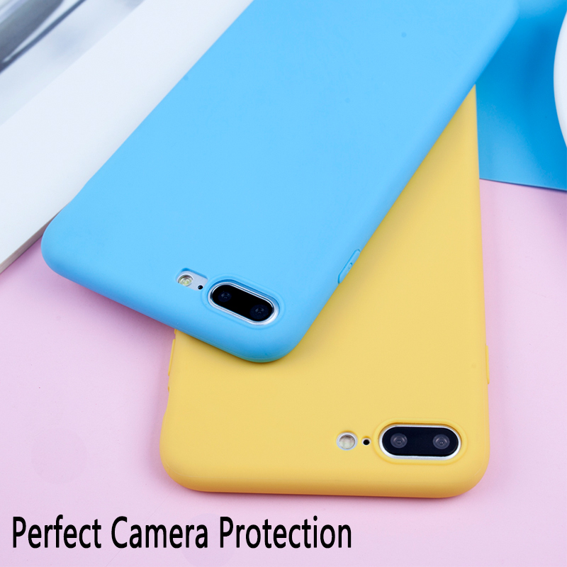 Candy Color Case For iPhone 7 8 6 6s Plus X 5 5s SE XR XS Max Simple Solid Color Ultra thin Soft TPU Case Phone Back Cover in Fitted Cases from Cellphones Telecommunications