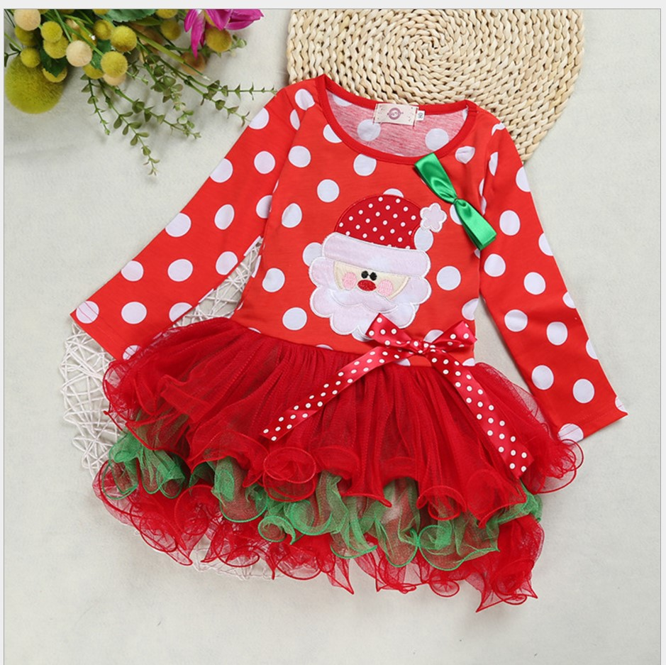 2017 Autumn Girls Dress Long Sleeve Communion Dresses Cute Dot Kids Dresses For Girls Toddler Christmas Princess Dress 2-6 Years
