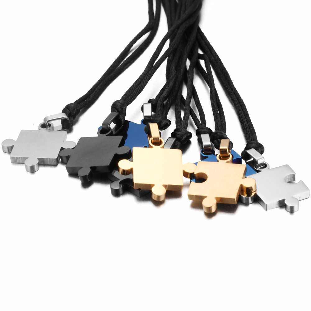 1 paire romantique Couple amoureux pendentifs colliers titane acier lisse Puzzle colliers pour amant Valentine cadeau