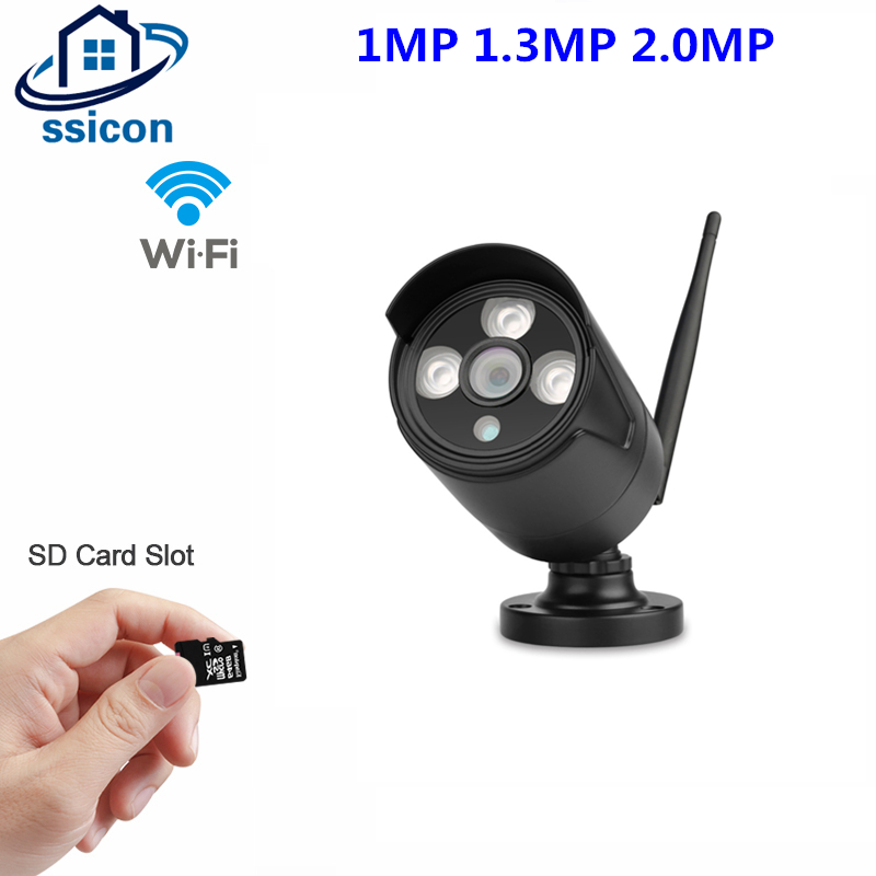 SSICON IP Camera Wifi 1080P 960P 720P ONVIF Wireless Wired P2P CCTV Metal Bullet Outdoor Camera Support SD Card Slot Max 64G hd 720p 1080p wifi ip camera 960p outdoor wireless onvif p2p cctv surveillance bullet security camera tf card slot app camhi