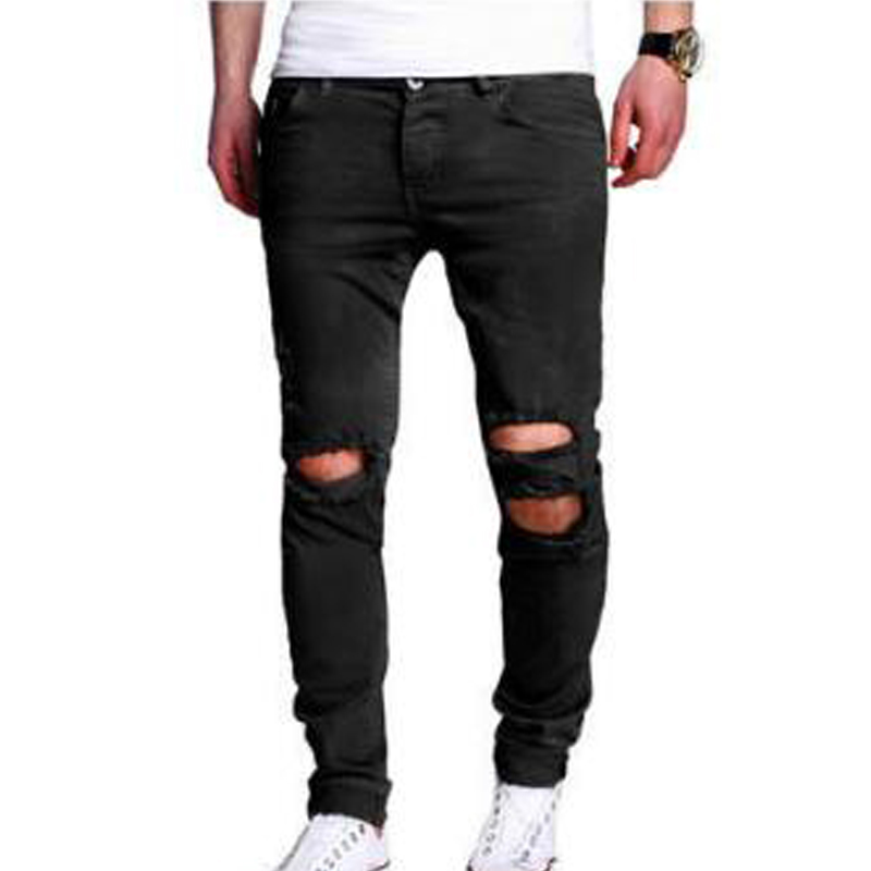 BBYES 2018 Fashion Men Destroyed Skinny Slim Fit Ripped Jeans Pants Trousers Casual Slim Male Hole Denim Casual New High Street