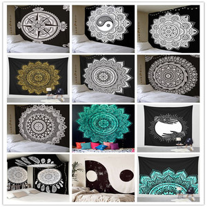 Image 1 - Indian Mandala Tapestry Wall Hanging Multifunctional Tapestry Boho Printed Bedspread Cover Mat Blanket Picnic cloth