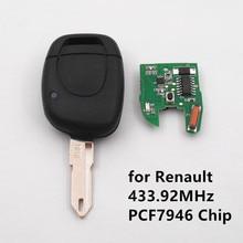 1 abotona Llave Alejada 433 MHz con la Viruta PCF7946 para Renault Twingo Clio Kangoo Maestro de Alarma de Coche de Entrada Sin Llave Fob