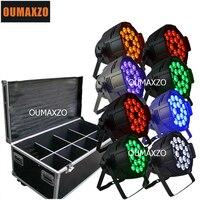 8pcs/lot&flight case 18pcs*18W 6in1 RGBAW UV Aluminum LED Par Can For Stage Event 6In1 DMX 6/10CH LED Par Light Bar Wash