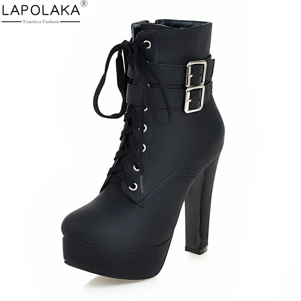 6032643285eb Lapolaka 2018 Large Size 30 50 High Heels Platform Women Shoes Woman Lace Up  Leisure Ankle Boots Woman Shoes Lady Footwear-in Ankle Boots from Shoes on  ...