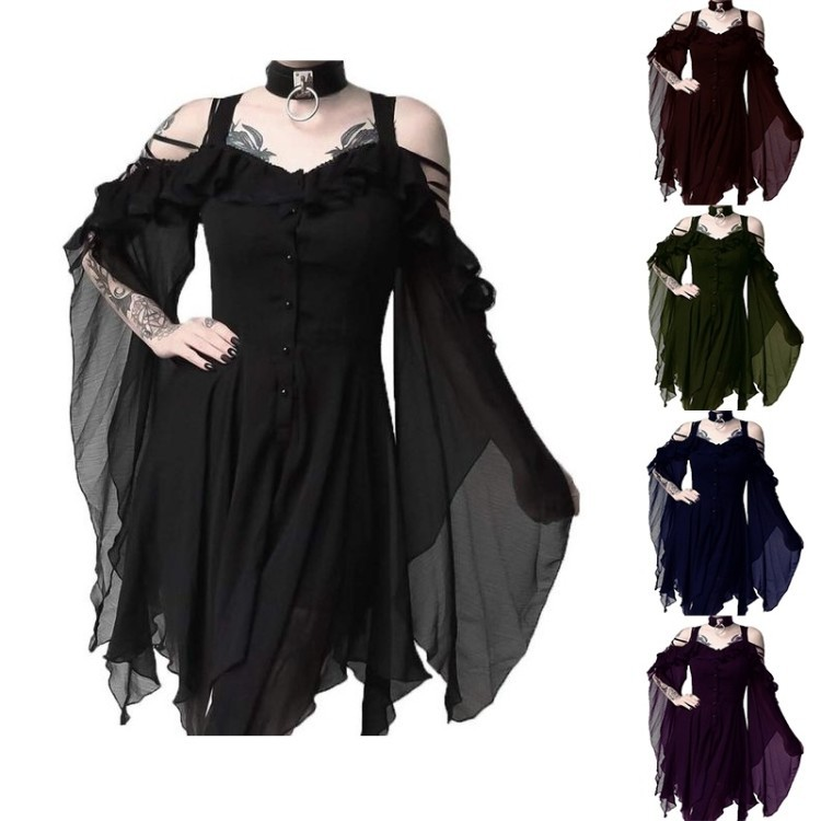 WEPBEL Black Goth Girl Dark Beauty Goth Fashion Cosplay Clothing Unique Irregular Hem Dress
