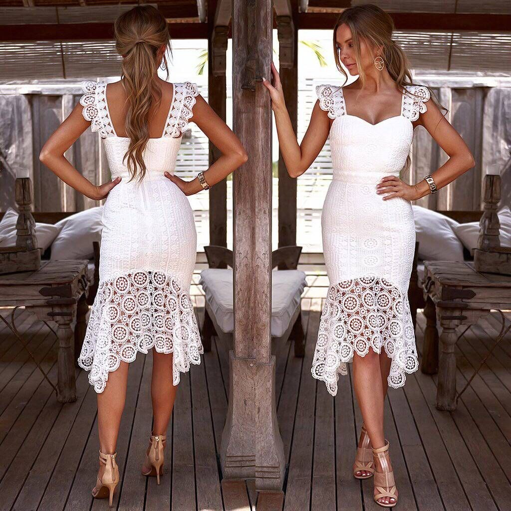 Summer Women Elegant Lace White Dress Strap Mermadi Dress Vestidos Sexy Party Solid Dresses in Dresses from Women 39 s Clothing