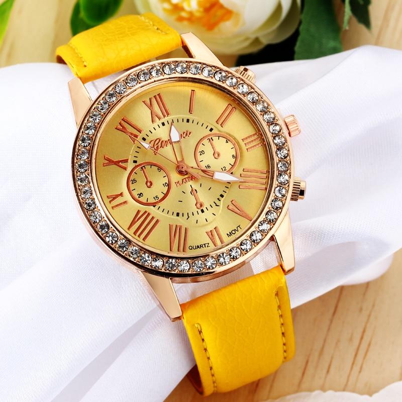 Fashion Yellow Jewelry Watches Gold Rhinestone Plated Casual Quartz Wrist Watch Women Fashion