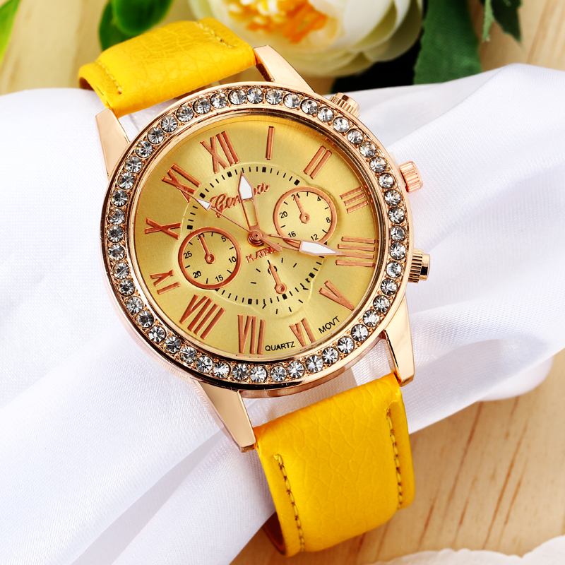 Fashion Yellow Jewelry Watches Gold Rhinestone Plated Casual