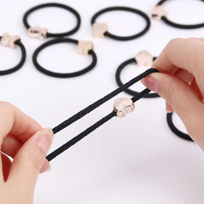 10pcs Korean Lovely Rubber Rope Ponytail Black Women Hair Accessories Elastic Headband Hairband Sent At Random