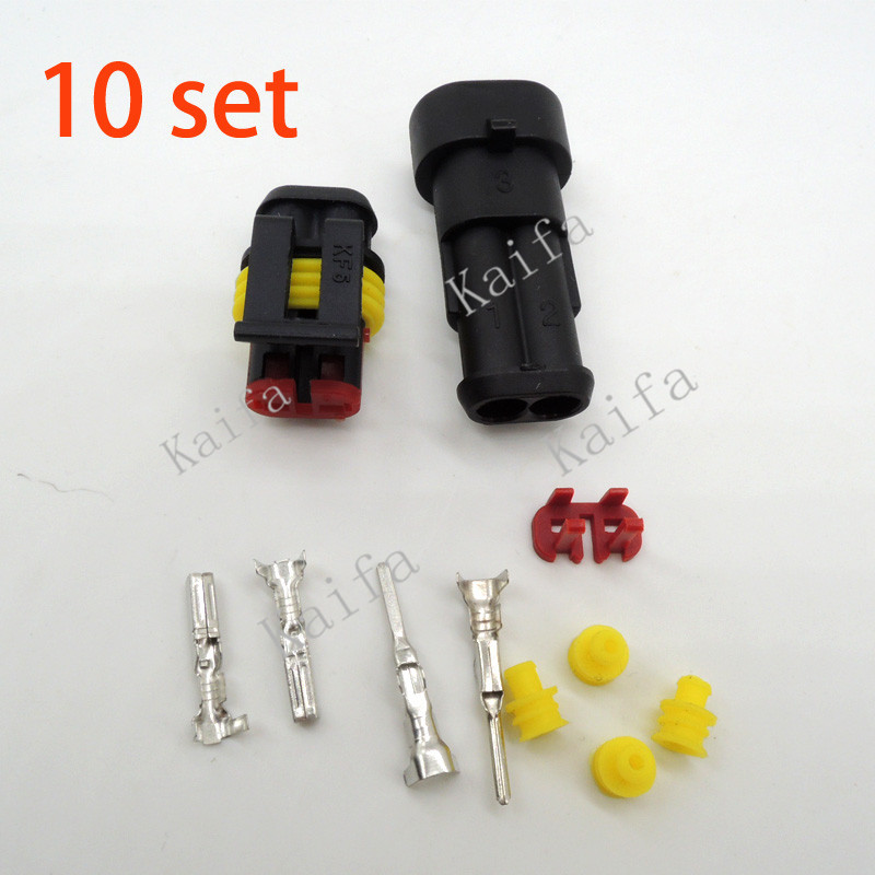 10 sets Kit 2 Pin Way Waterproof Electrical Wire Connector Plug car part shipping with registered цена и фото