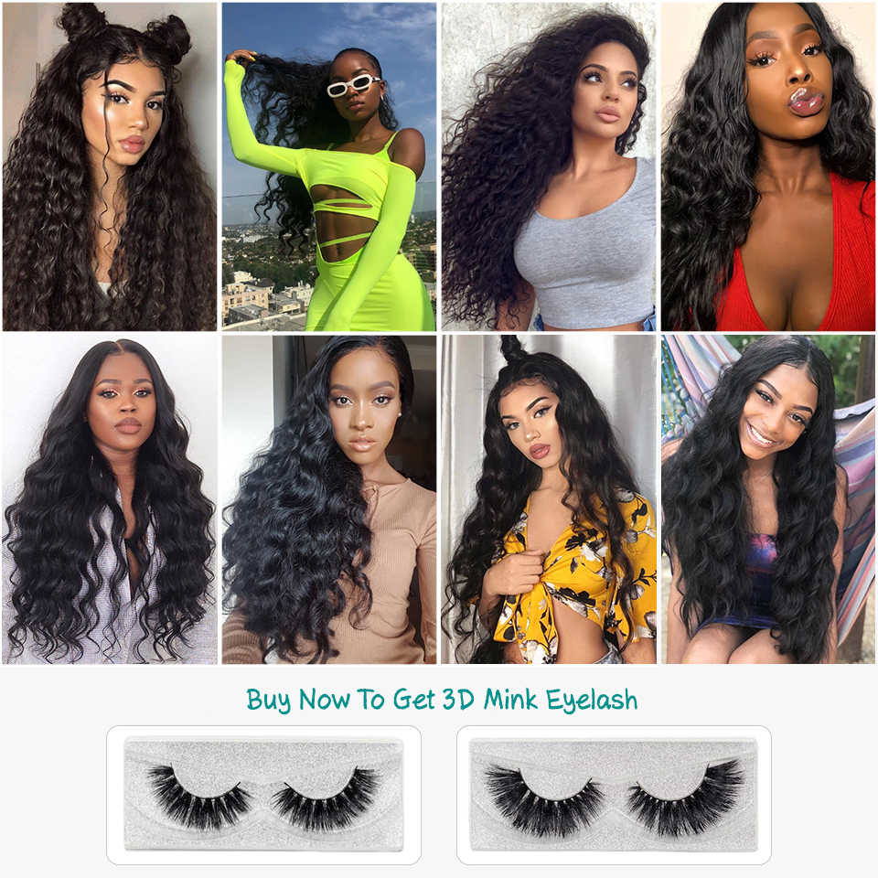 Ali Grace Hair Brazilian Loose Wave Bundles With Closure 100% Remy Hair 3 Bundles With 4*4 Lace Closure Middle and Free Part