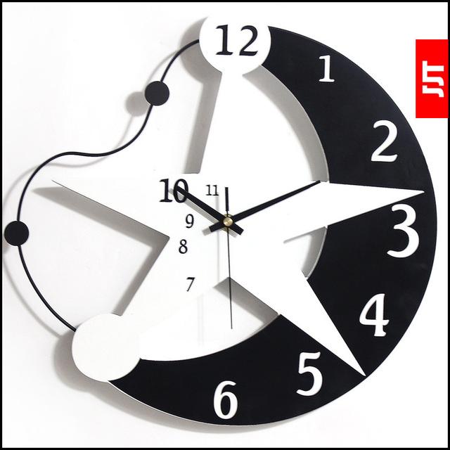 Luminousness brightness of wooden wall clock fashion brief cartoon clocks child real clock