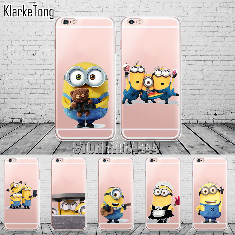 Funny Cartoon Despicable Me Yellow Minions design Cases For Apple iphone 6 plus Case Soft Silicone Transparent Cover