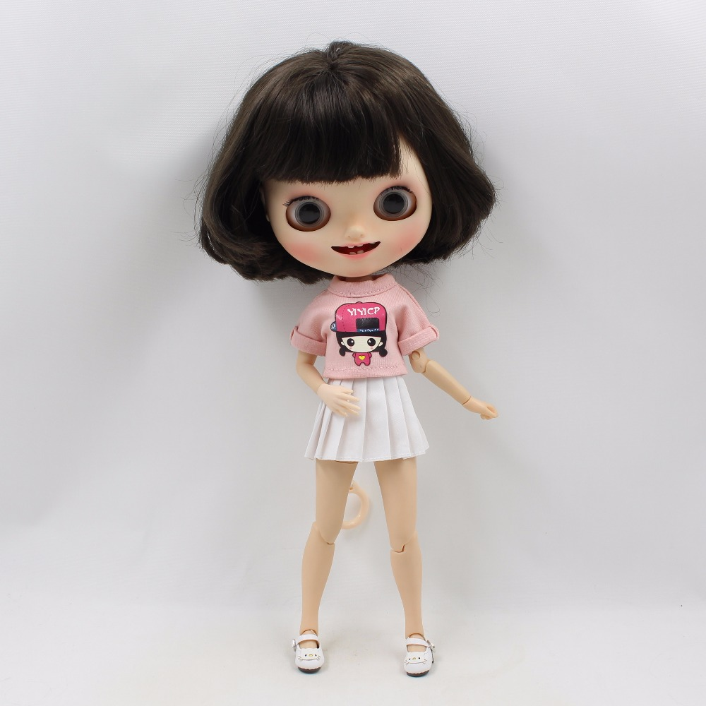 Neo Blythe Doll Pink Shirt White Skirt 2