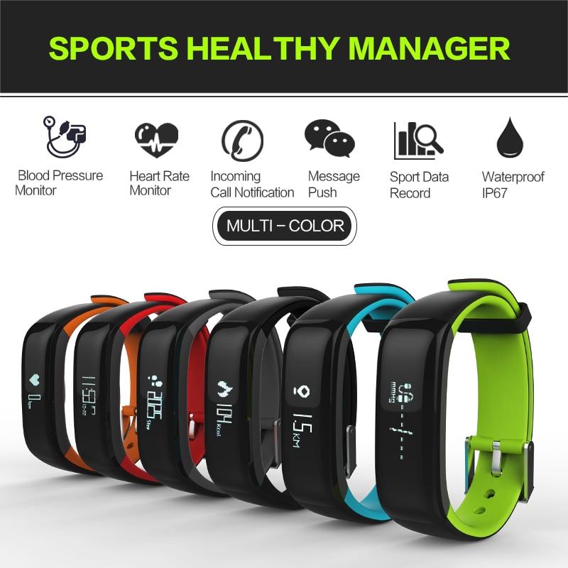 New RollsTimi P1 Wristband Fitness Tracker Heart Rate Monitor Smart Bracelets 0.86 OLED Touch Screen Waterproof Smart Wristband