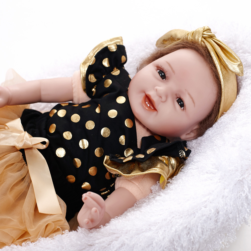 22 New Type 55CM Reborn Baby Doll Lifelike Alive Girl Doll Realistic Supernatural Doll With Beautiful Dress For New Year Gifts high quality wedding dress doll 45cm 55cm beautiful elegant pink feather dhl or fedex