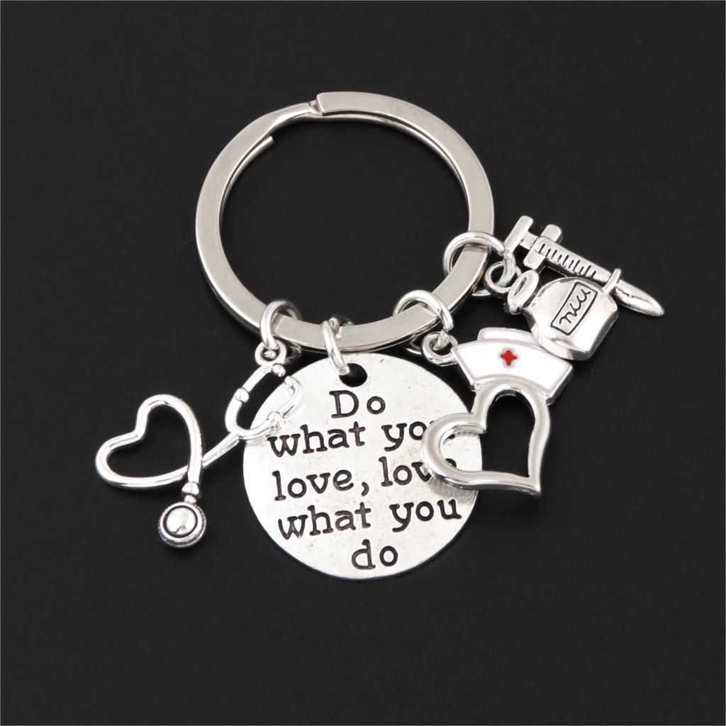 1Pc Doctor Syringe Stethoscope Keychain Nurse Cap Charms Kringring School Student Graduation Gift Jewelry Supplies E2595