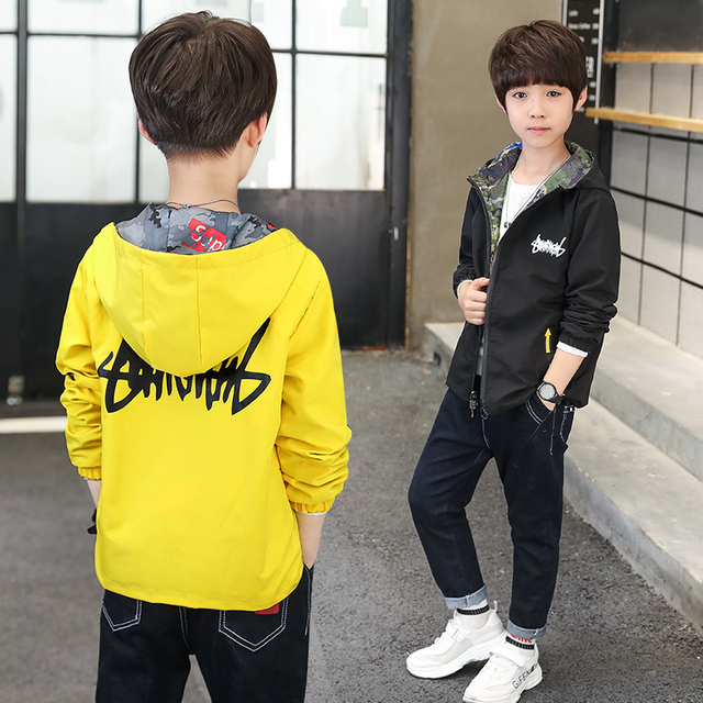 Children Down Jackets 2018 Autumn Boys Hooded Both Sides Wear Coats Baby Kids Outerwear Letter Zipper Jacket Clothing 4-14 years