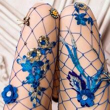 Fashion Women's Net Pearl Fishnet Bodystockings Pattern Pantyhose Tights Stockings Long Tights Rhinestone Pantyhose Medias 2018