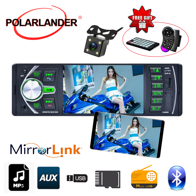 Car MP5 MP4 radio mirror link stereo video 4.1 inch 1 din Bluetooth AUX/FM/USB/TF radio cassette player Autoradio auto tapes image