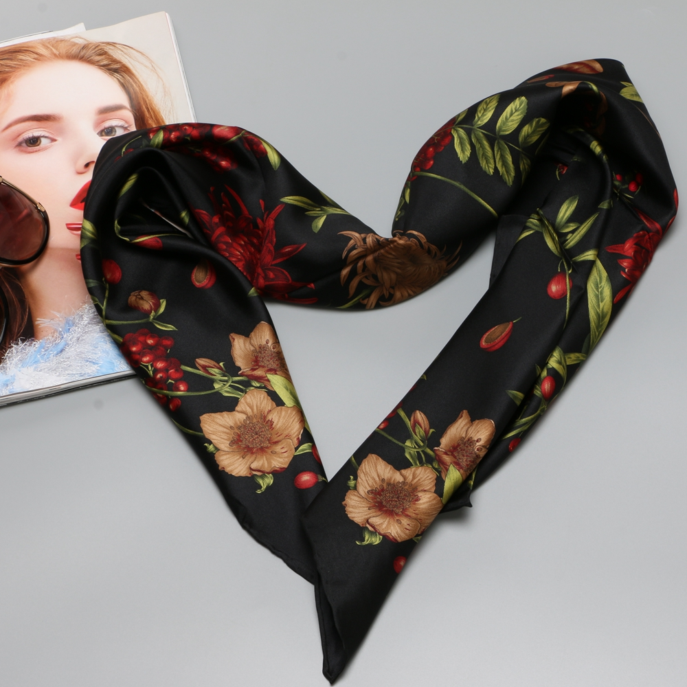100% Silk Twill   Scarf     Wraps   Flower & Fruits Print Large Square Silk Scarfs Shawl Hijab Foulard 88x88cm