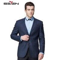 Seven7 бренд Королевский синий плед мужской костюм Модная Куртка Блейзер Британский Стиль Casual Slim Fit заказ мужской пиджак Masculino
