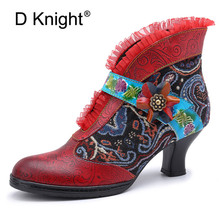цены Genuine Leather Retro Splicing Ankle Boots For Women Shoes Patchwork Lace D Knight Woman Boots Block Heels Embroidy Botas Shoes