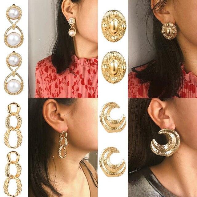 c175c6abf86d7 US $1.59 |DIEZI Cute Gold Silver Metal Pearl Drop Dangle Earring for Women  Girls Gift 2019 New Korean Earrings Jewelry Wholesale-in Drop Earrings from  ...
